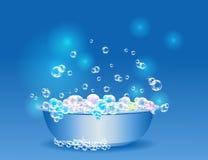 Таз полн пузырей мыла Стоковое Изображение