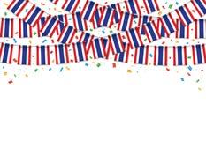 Таиланд сигнализирует предпосылку гирлянды белую с confetti, овсянкой вида на тайский День независимости иллюстрация вектора