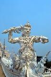 Таиланд белизна wat Таиланда виска задачи rong rai khun красивейшего chiang привлекательностей искусства культурная чувствительна Стоковые Изображения RF