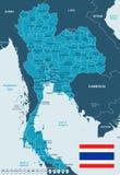 Таиланд - иллюстрация карты и флага Стоковые Изображения RF