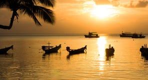Таиланд. Остров Ko Дао. пляж песка в тропике на заходе солнца. Стоковая Фотография RF