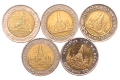 Таиланд чеканит деньги Стоковая Фотография