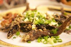 Тайбэй, Тайвань, ресторан морепродуктов, кудрявый зажаренный морской волк, очень очень вкусная тайваньская кухня, хрустящий и оче Стоковые Фото