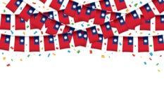 Тайвань сигнализирует предпосылку гирлянды белую с confetti, овсянкой вида на тайваньский День независимости иллюстрация штока