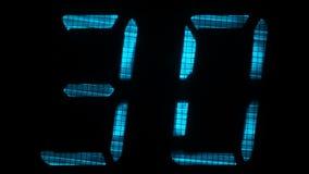 Таймер комплекса предпусковых операций цифров с интервалом 60 секунд акции видеоматериалы