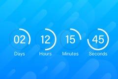 Таймер счетчика часов комплекса предпусковых операций Отсчет приложения UI цифровой вниз с метра доски круга с диаграммой пирога  иллюстрация штока