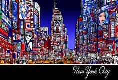 Таймс площадь в Нью-Йорке на ноче бесплатная иллюстрация