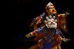 Тайна буддиста священная в тибетском монастыре Karsha Gonpa, Cham танца, маске танца Стоковые Изображения