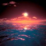 Тайна красивого захода солнца Sae большая Стоковые Фотографии RF