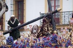 Тайна шага братства надежды Triana, пасхи в Севилье стоковая фотография