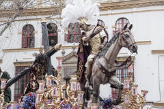 Тайна шага братства надежды Triana, пасхи в Севилье стоковые изображения