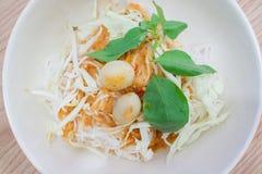 Тайская вермишель риса с карри Стоковое Изображение