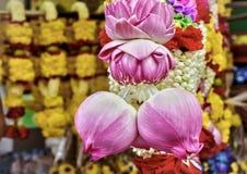 Тайская гирлянда бутона лотоса Стоковое Фото