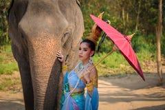 Тайская девушка с слоном стоковое изображение