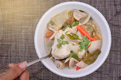 Тайская еда: Пряный куриный суп Стоковые Фото