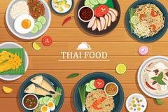 Тайская еда на деревянной предпосылке иллюстрация вектора