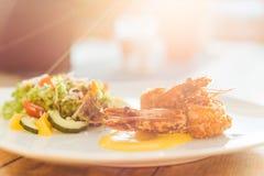 Тайская еда с заходом солнца Стоковое фото RF