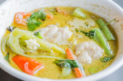 Тайская еда, тайское карри зеленого цвета фрикадельки Стоковое Изображение