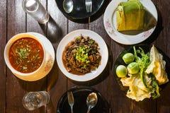Тайская еда установленная для еды Стоковые Фото