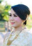 Тайская женщина в тайском костюме Стоковое Фото