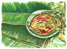 Тайская картина руки салата папапайи еды Стоковая Фотография