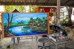 Тайская картина, центр ремесленничества зонтика Стоковое фото RF