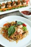 Тайская креветка с едой лапшей Стоковые Фото