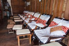 Тайская кровать массажа на Amphawa Таиланд Стоковые Фотографии RF