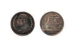 Тайская 1 монетка бата Стоковое Фото