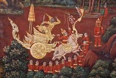 Тайская настенная роспись виска Стоковые Фотографии RF