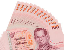 Тайская предпосылка банкнот 100 батов Стоковое Фото