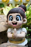 Тайская радушная девушка куклы штукатурки Стоковая Фотография