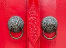 Тайская ручка двери льва типа Стоковая Фотография