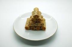Тайская свернутая вафля штабелируя на блюде Стоковое фото RF