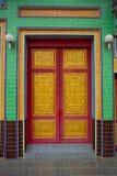 Тайская скульптура двери виска Стоковая Фотография RF