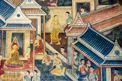 Тайская стенная роспись в Бангкоке, Таиланде Стоковое Изображение