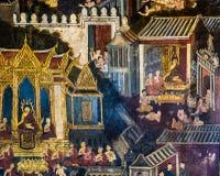 Тайская стенная роспись в Бангкоке, Таиланде Стоковое Изображение RF