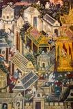Тайская стенная роспись в Бангкоке, Таиланде Стоковое Фото