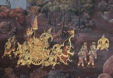 Тайская стенная роспись в святилище Wat Phra Kaew Стоковые Фотографии RF