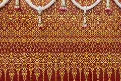 Тайская текстура на шелке стоковое фото rf