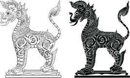 Тайская традиционная картина, татуировка иллюстрация вектора