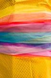 Тайская традиционная multicolor ткань, общее используемое в священном worshi Стоковые Изображения RF