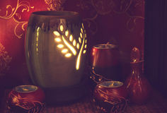 Тайская установка массажа курорта с маслом и свечами ароматности Стоковая Фотография