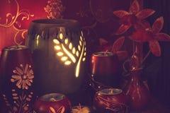 Тайская установка массажа курорта с маслом и свечами ароматности Стоковое Фото