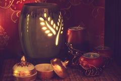 Тайская установка массажа курорта с маслом и свечами ароматности Стоковые Фотографии RF