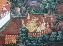 Тайская фреска настенной росписи эпопеи Ramakien на большом дворце в Бангкоке, Таиланде стоковые изображения rf