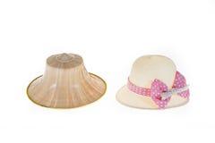 Тайская шляпа ладони фермеров с сладостной шляпой с милой соломенной шляпой на Wh Стоковое Фото