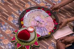 Тайские банкноты используемые как приданое в свадьбе стоковое фото