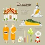 Тайские Будда и висок с монахами Таиланда иллюстрация вектора
