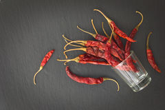 Тайские высушенные chilies перца в меньшем стекле Стоковые Изображения